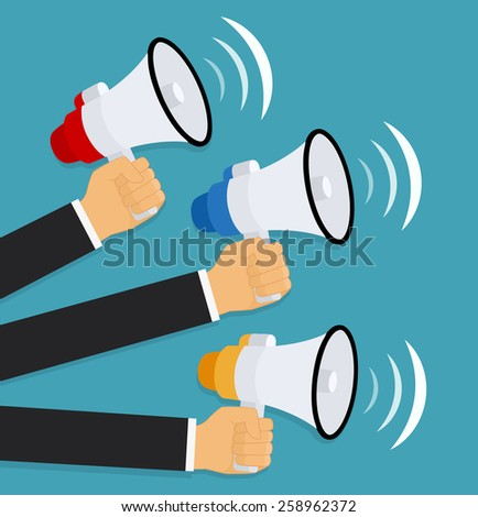 Hands holding a megaphones. Vector illustration  - stock vector
