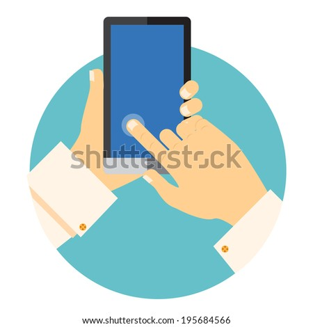 Hands holding a mobile phone circular vector icon with one finger touching and activating a point on the blank touchscreen in a communications concept - stock vector