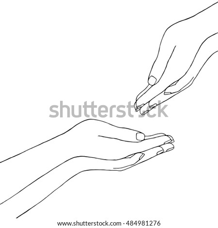 how to draw giving hands