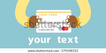 Hands holding bank card. Flat design style. Minimalist bank card. Bank Card white.Credit card in hand.Modern style. Sleek flat design.Credit card. black men's hands. - stock vector