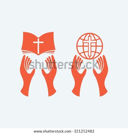 Hands holding bible, hand holding world, Christianity, worship, Bible, globe, world, missions - stock vector