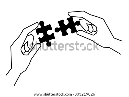 Hands holding black pieces of puzzle over white empty background - stock vector
