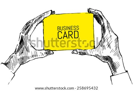 Hands holding blank business card with place for your text, vector hand drawn illustration, sketch - stock vector