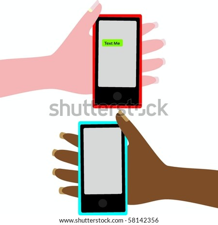 Hands holding cell phones - stock vector