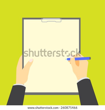 Hands holding clipboard with empty sheet. - stock vector