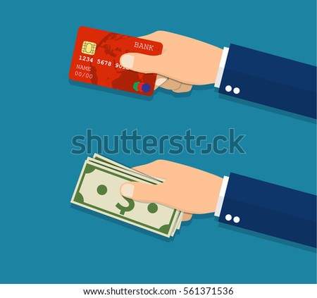 Hands holding credit card and money bills. Vector illustration in Flat style.