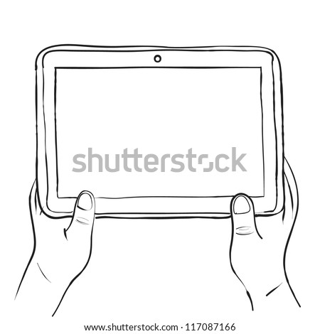 Hands holding digital tablet pc sketch vector illustration