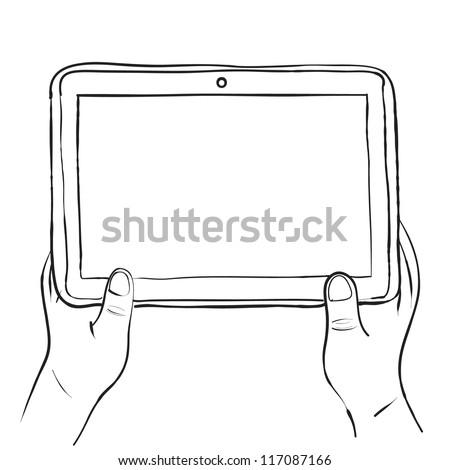 Hands holding digital tablet pc sketch vector illustration - stock vector