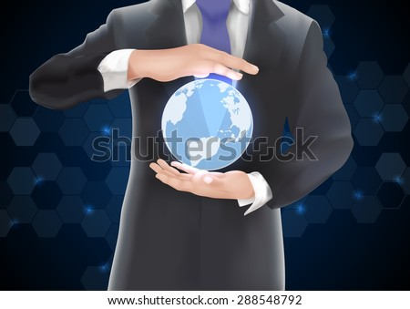 Hands holding earth  of  background  on blue and black. vector