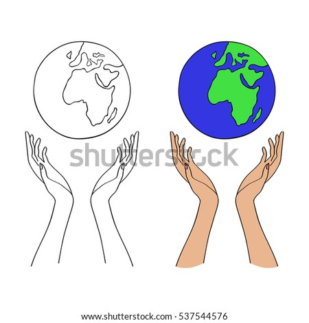 Hands holding Earth with care. Save the planet. Save the Earth. Ecology concept. Vector illustration. Globe in hands (two versions: colorful and contour).