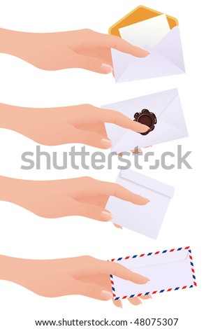 Hands holding envelopes,  vector illustration