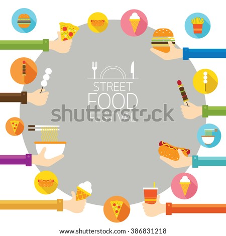 Hands Holding Fast Street Food Icons Stock Vector 386831218 ...