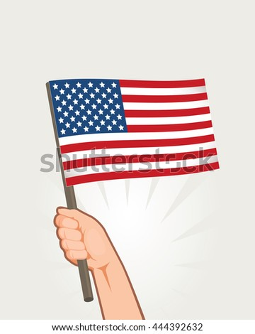 Hands Holding Flags of USA. american Independence Day celebration