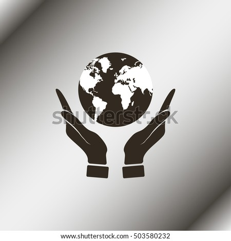 Hands holding globe earth.