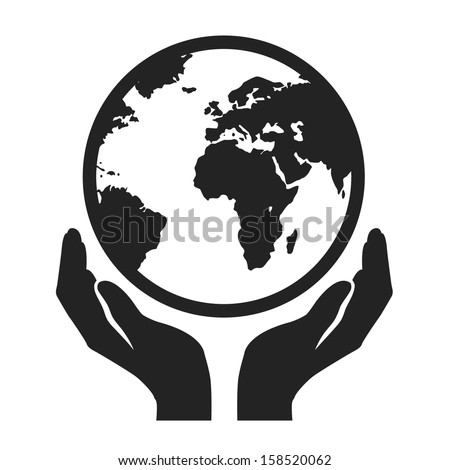 hands holding globe earth web black icon. save earth concept vector illustration - stock vector