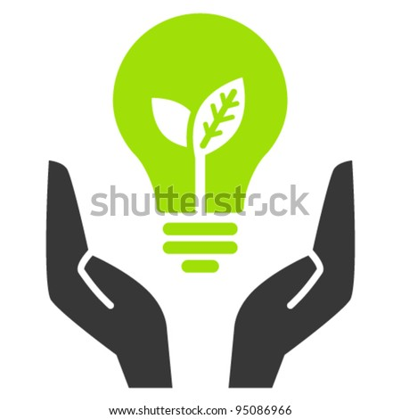 Hands holding green ecology light bulb, vector icon