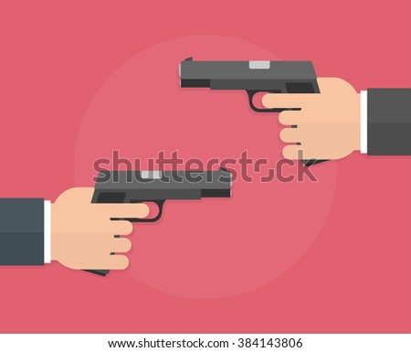 Hands holding guns. Hands pointing or aiming guns to each other. Flat design - stock vector