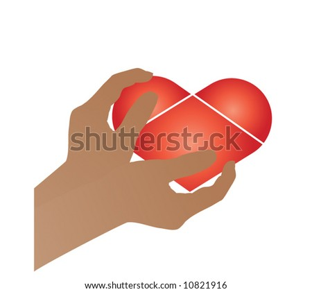 hands holding heart (use together or separately) - stock vector