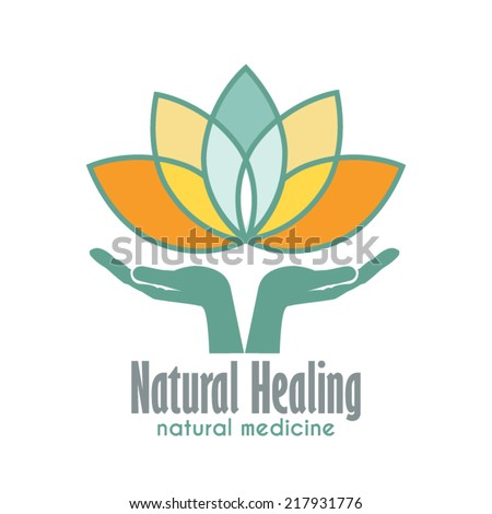 Hands holding Lotus flower vector icon. Business sign template for Alternative Medicine, Yoga Club, Beauty Industry, Med Spa, Natural Cosmetics, Natural Healing, Acupuncture, Massage and Recreation. - stock vector