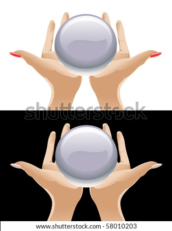 Hands Holding Magic Crystal Ball - stock vector