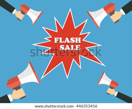 Hands holding megaphone with speech bubble announcing for flash sale - Concept of making loud announcement or selling /offer/sales/discount or  loud-hailer in pop art style with bomb explosive - stock vector