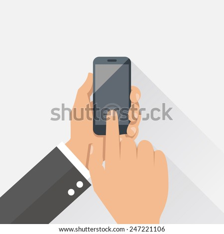 Hands holding mobile phone in flat design style - stock vector