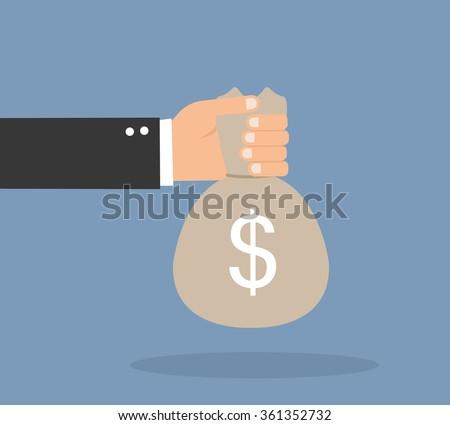 Hands holding money bag - stock vector