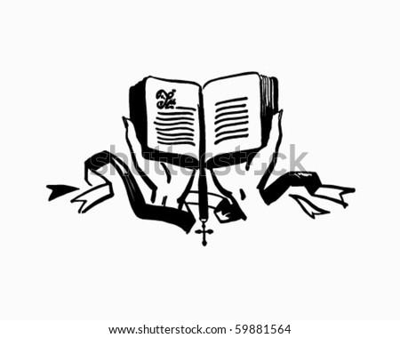 Hands Holding Open Bible - Retro Clip Art - stock vector
