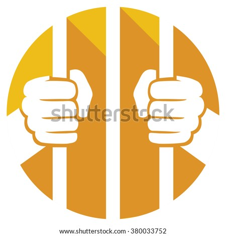 hands holding prison bars flat icon (hand behind prison bars sign) - stock vector