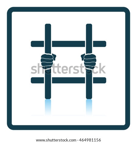 Hands holding prison bars icon. Shadow reflection design. Vector illustration.