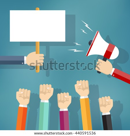 Hands holding protest sign and bullhorn, crowd of people protesters. Political crisis poster, revolution placard concept. - stock vector