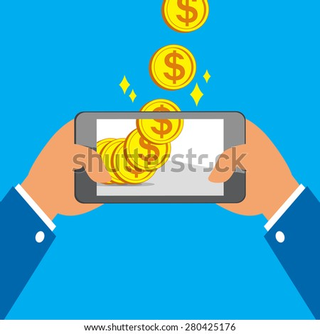 Hands holding smart phone and Earning Big Coins - stock vector