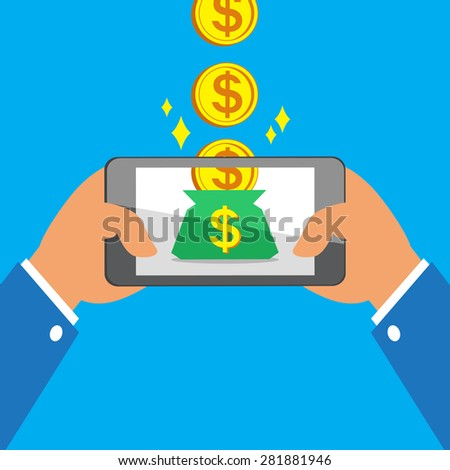 Hands holding smart phone earning big coins to money bag - stock vector