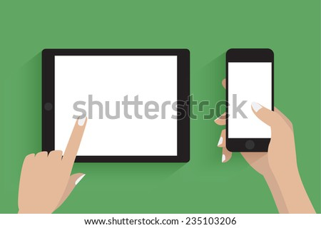 Hands holding smartphone and tablet computer.