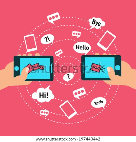 Hands holding smartphones touch screen with communication icon sets poster vector illustration
