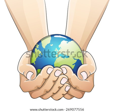 Hands holding the earth globe on white background. Saving the earth concept.  Earth Day illustration. - stock vector
