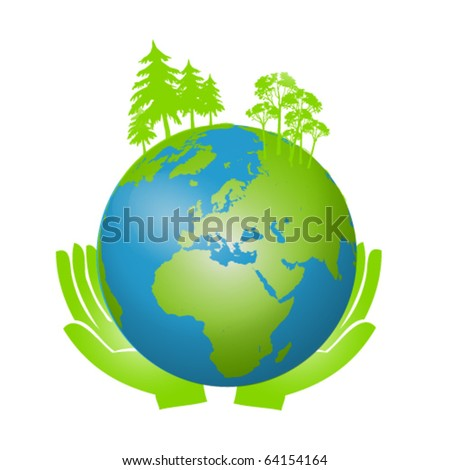 Hands Holding The Earth Globe Vector Illustration Isolated on White - stock vector