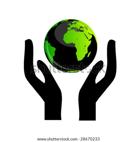 hands holding the globe 1 - stock vector