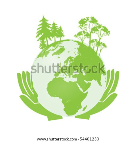 Hands Holding The Green Earth Globe Vector Illustration clip-art isolated on white - stock vector