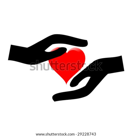 hands holding the heart #3 - stock vector