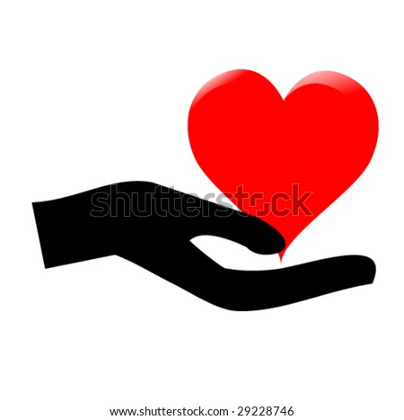 hands holding the heart #2 - stock vector