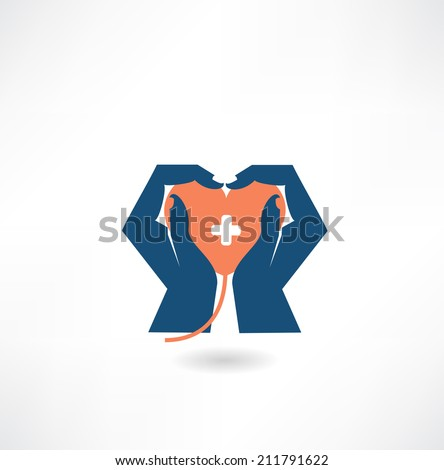 hands holding the heart donor icon - stock vector