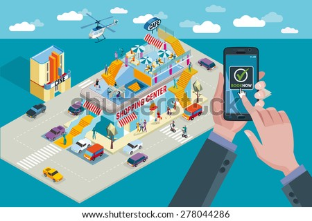 Hands holding touchscreen smart phone. Mobile applications for booking and buying. Behind a shopping center in isometric perspective and people buying.  - stock vector