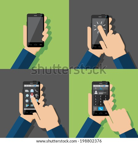 Hands holding touchscreen smartphones. Blank sreen, turning on, choosing icons, calling. Vector illustration. - stock vector