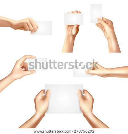 Hands holding white blank templates set for business identification cards samples promotion advertisement banner abstract vector illustration - stock vector