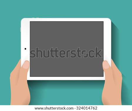 Hands holding white tablet computer at green backgound with shadows. Vector illustration in flat design. Concept for web design, promotion templates, infographics. vector illustration