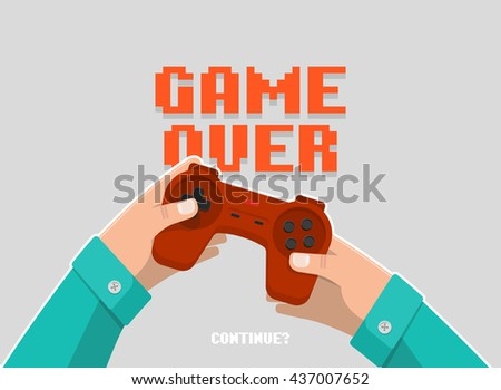 Hands holding wireless gamepad, controller, end of game, game over, red joystick. Isolated flat style vector illustration.  - stock vector