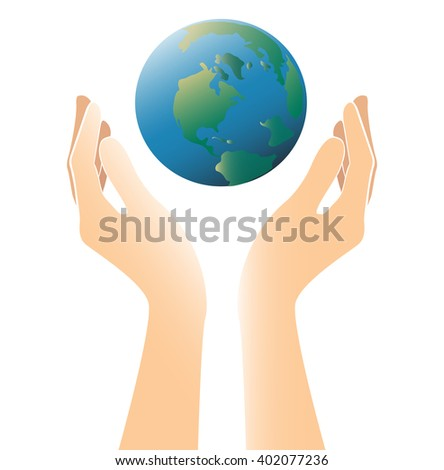 hands holding world color vector