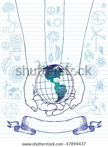 Hands Holding World with Doodles - stock vector
