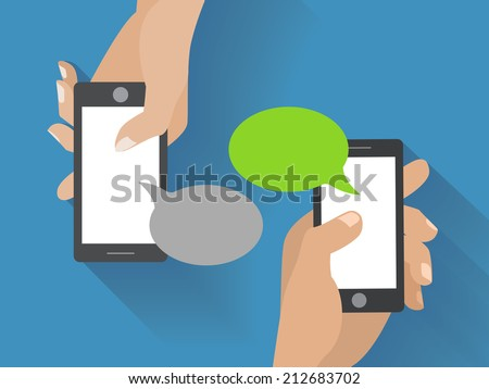 Hands holing smartphone with blank speech bubble for text. Using smart phone similar to iphon for text messaging. Eps 10 flat design concept. - stock vector